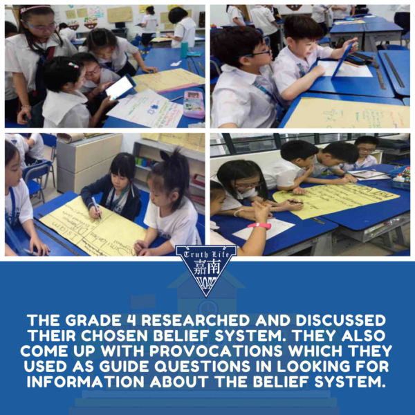 The grade 4 researched and discussed their chosen belief system. they also come up with provocations which they used as guide questions in looking for information about the belief system.